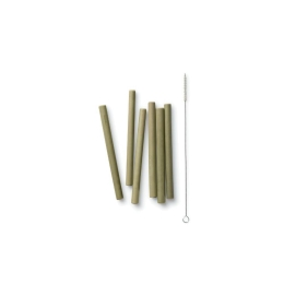 Bambu - Reusable Bamboo Mini Straws - Set of 6 with brush