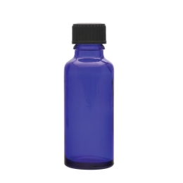 Blue Glass Bottle with black cap